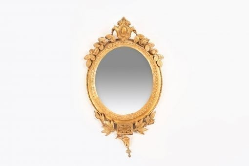 9237 - 19th Century Oval Carved Giltwood Mirror