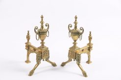 8046 - Early 19th Century Georgian Neoclassical Pair of Brass Fire Dogs after Robert Adam