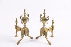 8046 - Early 19th Century Georgian Neoclassical Pair of Brass Fire Dogs after Robert Adam