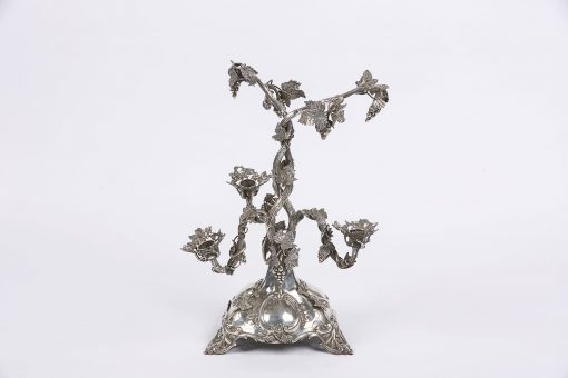 8649 - 19th Century Silver Three Branch Candelabra Stamped Thomas Bradbury and Sons