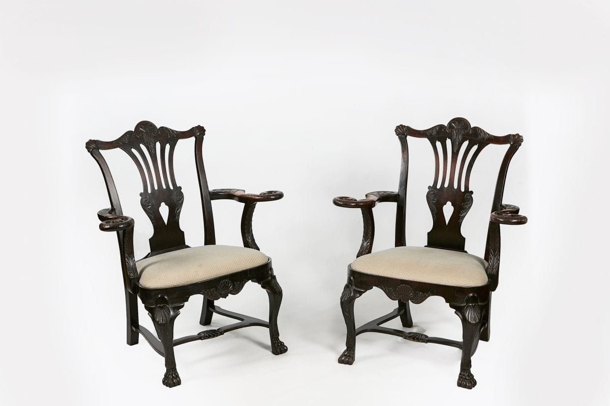 10343 19th Century Irish Pair Of Butler Carver Chairs O Sullivan