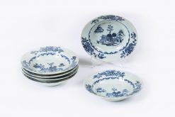 10163 - Early 19th Century Jiaqing Qing Dynasty Set of Six Blue and White Nanjing Porcelain Dishes