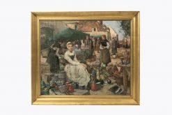 10326 - William Lee HankeyRWS., R.I., R.O.I., R.E. (British, 1869 -1952) 'A market scene in Picardy'