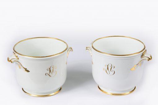 10384 - Early 19th Century Pair of Paris Porcelain Jardiniere or Cahé Pot