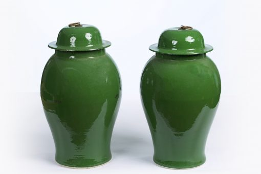 10402 - 20th Century Chinese Pair of Green Glazed Temple Jars
