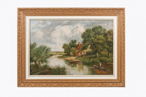 10350 - Joseph Thors, 'Boat on a River' Oil on Canvas