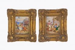 10436 - 18th Century Italian Pair of Hand Painted Porcelain Panels