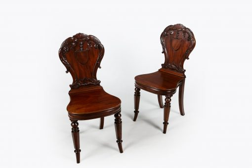 10464 - Early 19th Century Regency Pair of Hall Chairs by Gillows of Lancaster and London