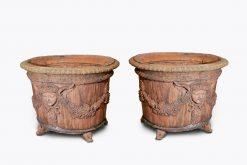 10512 - 19th Century Neoclassical Pair of Terracotta Planters