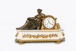 10518 - 19th Century Neoclassical Marble and Gilt Bronze Figural Mantle Clock