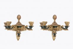 7369 - Early 19th Century Regency Pair of Gilt Brass Wall Sconces
